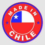made in chile country flag product label round round stickers