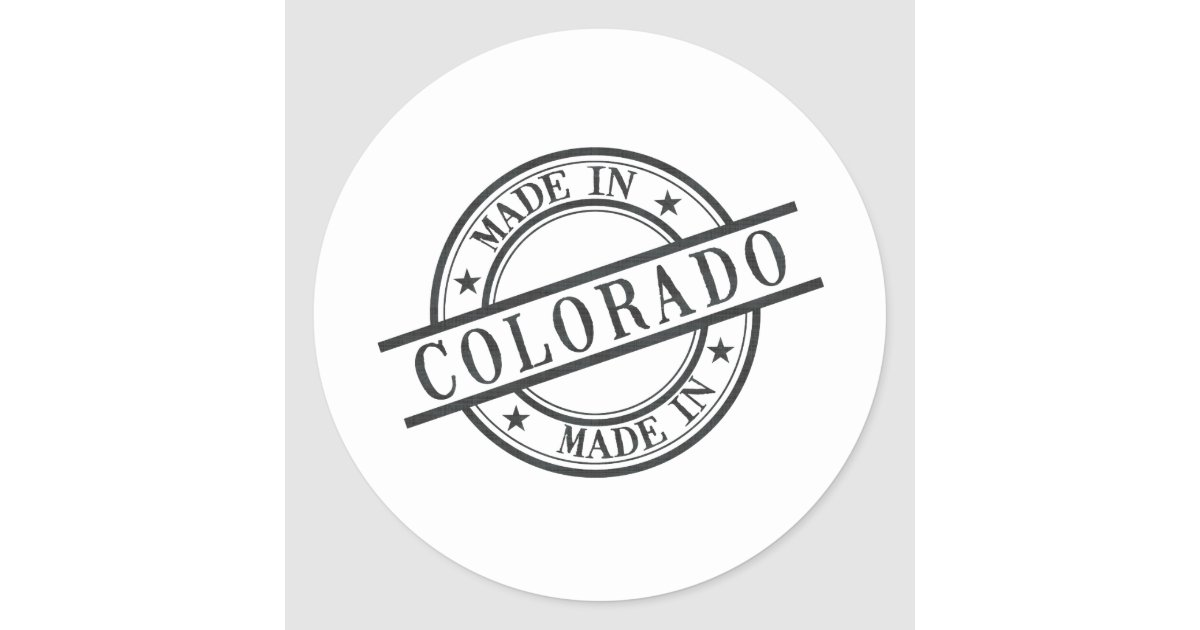 Made In Colorado Stamp Style Logo Classic Round Sticker