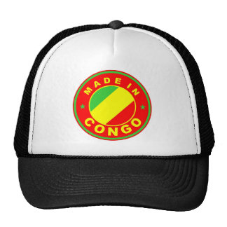 made in congo country flag product label round mesh hats