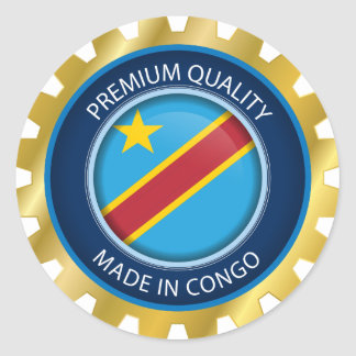 Made in Congo Flag, Democratic Republic of Congo Classic Round Sticker