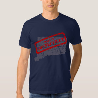 Made in Connecticut Grunge Map Navy Blue T-shirt