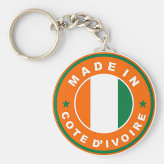 made in cote divoire country flag label stamp basic round button key ring