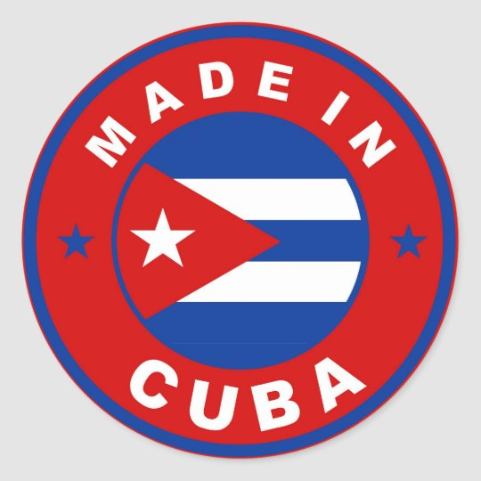made in cuba country flag product label round