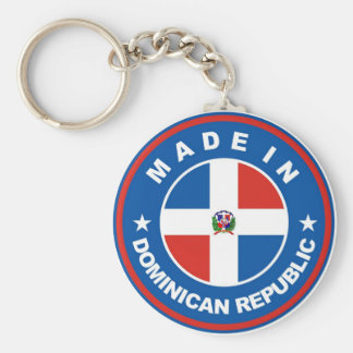 made in dominican republic flag label round stamp basic round button key ring