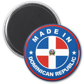 made in dominican republic flag label round stamp magnet