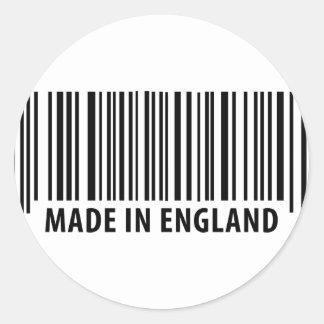 made in england bar code barcode round sticker