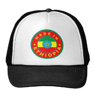 made in ethiopia country flag product label round cap