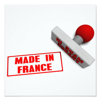 Made in France Stamp or Chop on Paper Concept 13 Cm X 13 Cm Square Invitation Card