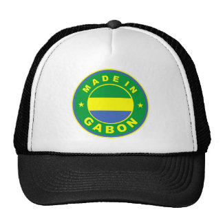 made in gabon country flag label round stamp mesh hats