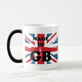 Made in GB with washed out Union Jack Flag Magic Mug