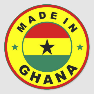 made in ghana country flag label round stamp round sticker