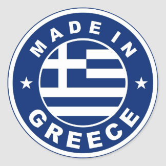 made in greece country flag label round stamp