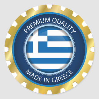 Made in Greece Flag, Greek Artwork Seal, Icon Classic Round Sticker