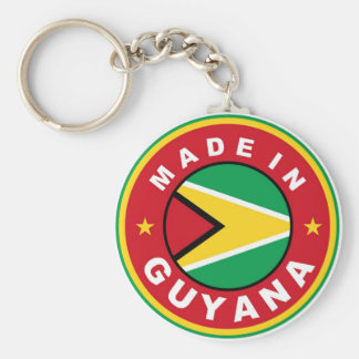made in guyana country flag product label round basic round button key ring
