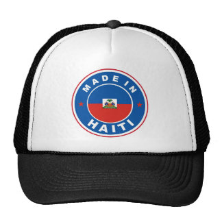 made in haiti country flag product label round cap