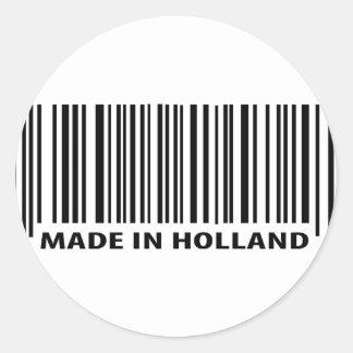 made in holland barcode icon round sticker