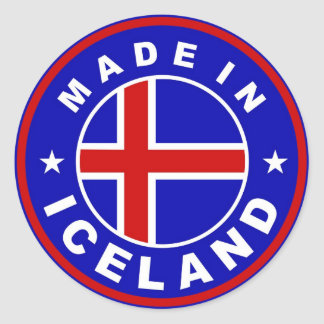 made in iceland country flag product label round round sticker