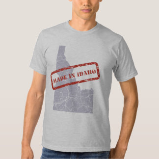 Made in Idaho Grunge Map Mens Grey T-shirt