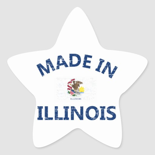 Made in Illinois Star Stickers