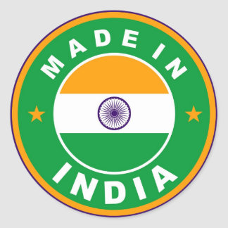 made in india country flag label round stamp stickers