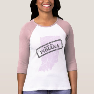 Made in Indiana Grunge Map Ladies Pink Raglan T-Shirt
