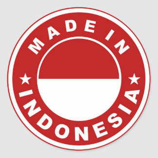 made in indonesia country flag product label round