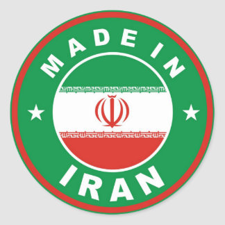 made in iran country flag label round stamp round sticker