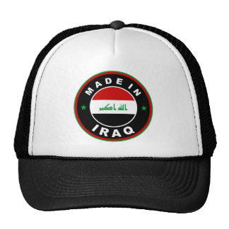 made in iraq country flag label round stamp trucker hats