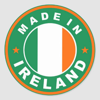 made in ireland country flag product label round