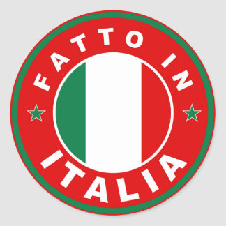 made in italy country flag label fatto italia round sticker