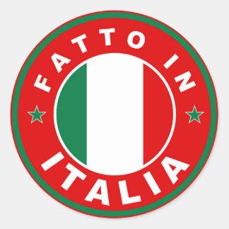 made in italy country flag label fatto italia classic round sticker