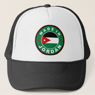 made in jordan country flag label round stamp trucker hat