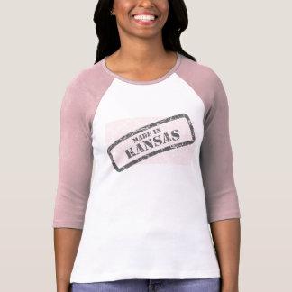 Made in Kansas Grunge Map Ladies Pink Raglan T-Shirt