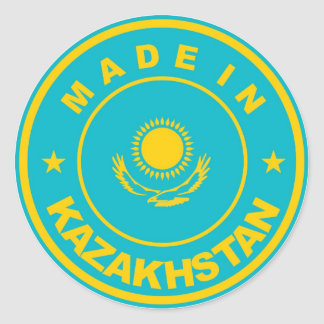 made in kazakhstan country flag product label round sticker