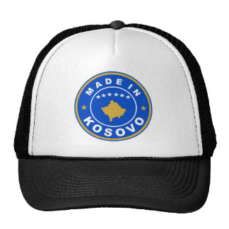 made in kosovo country flag product label round cap
