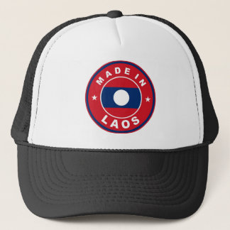 made in laos country flag product label round trucker hat