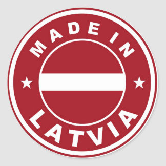 made in latvia country flag product label round
