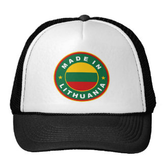 made in lithuania country flag product label round cap