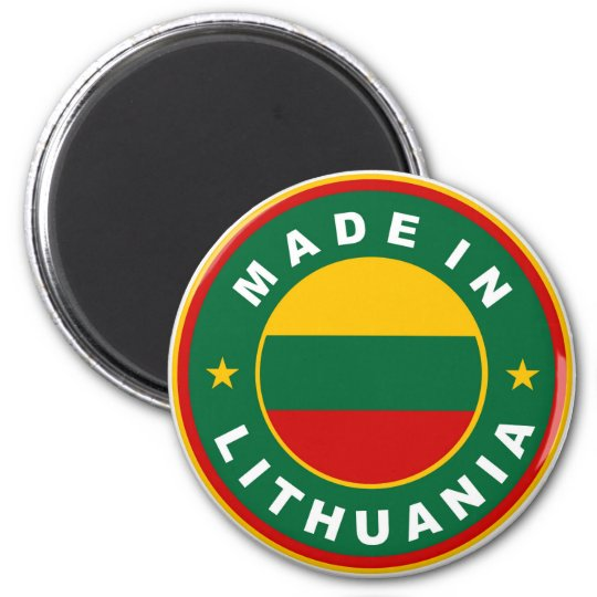 made in lithuania country flag product label round magnet