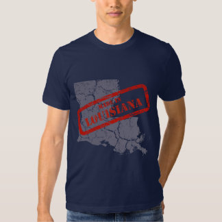 Made in Louisiana Grunge Map Mens Navy T-shirt