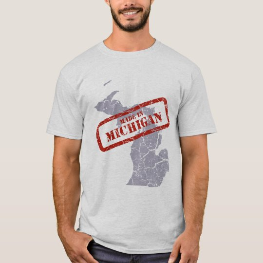 Made in Michigan Grunge Mens Grey T-shirt