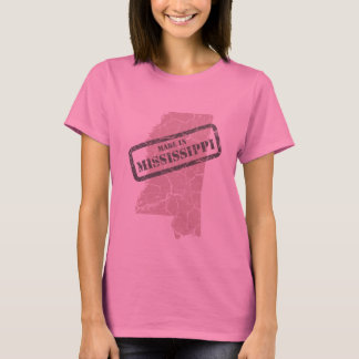 Made in Mississippi Grunge Map Ladies Pink T-shirt