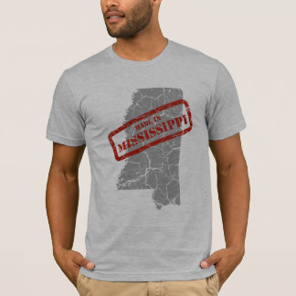 Made in Mississippi Grunge Map Mens Grey T-shirt