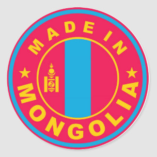 made in mongolia country flag product label round