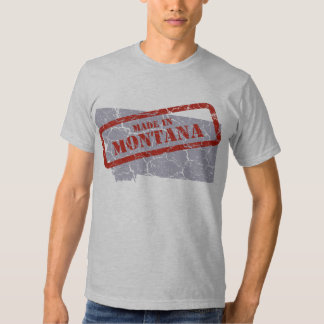 Made in Montana Grunge Map Mens Grey T-shirt