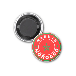 made in morocco country flag product label round 3 cm round magnet