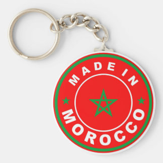 made in morocco country flag product label round key chain