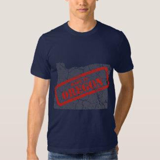 Made in Oregon Grunge Map Mens Navy Blue T-shirt