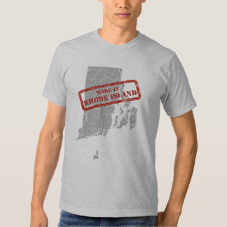 Made in Rhode Island Grunge Map Mens Grey T-shirt