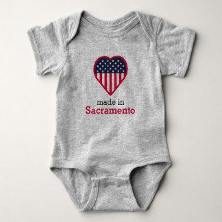Made in Sacramento heart flag, California, USA Baby Bodysuit